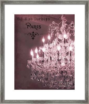 Paris Sparkling Crystal Chandelier - Paris Pink Mauve Crystal Chandelier Decor Framed Print