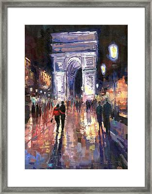 Paris Miting Point Arc De Triomphie Framed Print