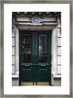 Paris Montmartre Door - Dark Emerald Framed Print by Georgia Fowler