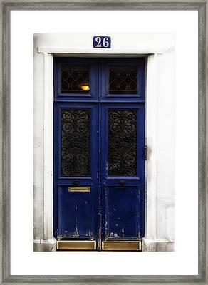 Paris Montmartre Door - Weathered Blue Framed Print by Georgia Fowler