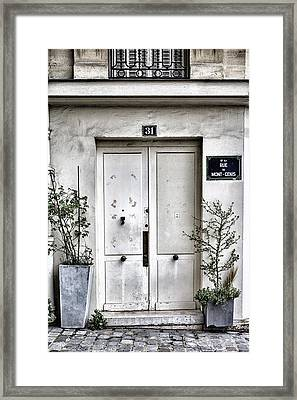 Paris Montmartre Door - White And Pale Framed Print by Georgia Fowler
