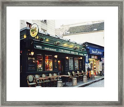 Paris Montmartre Irish Pubs Sidewalk Cafe Pub - Corcoran's Irish Pub Cafe Montmartre District Framed Print by Kathy Fornal