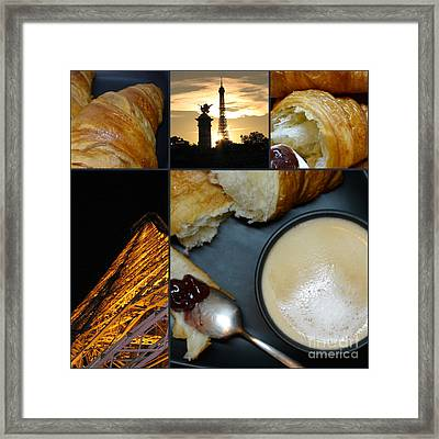 Paris - Morning And Evening - Parisian Breakfast And The  Eiffel Tower In Lights - Elena Yakubovich Framed Print by Elena Yakubovich