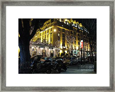Paris Night Lights Street Scene Architecture And Vespas Framed Print by Kathy Fornal