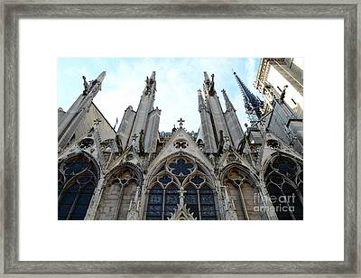 Paris Notre Dame Cathedral - Paris Surreal Gothic Gargoyles Spires - Notre Dame Architecture  Framed Print by Kathy Fornal