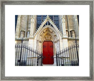 Paris Notre Dame Cathedral Red Ornate Door - Notre Dame Cathedral Door Window Gate Architecture Framed Print by Kathy Fornal