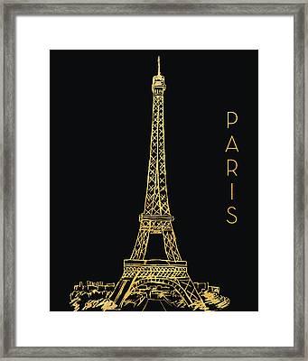 Paris On Black Framed Print