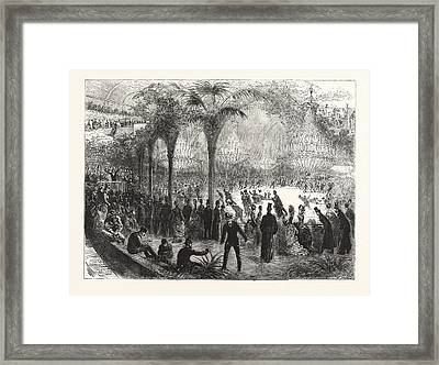 Paris On Wheels, The New Skating Rink In The Champs Elysees Framed Print