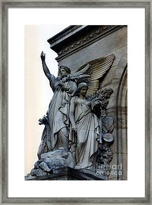 Paris Opera Angels - Opera De Garnier - Opera Statues And Angels - Paris Angels Of The Opera House  Framed Print by Kathy Fornal