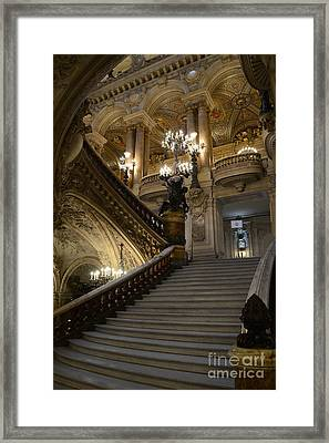 Paris Opera Garnier Grand Staircase - Paris Opera House Architecture Grand Staircase Fine Art Framed Print by Kathy Fornal
