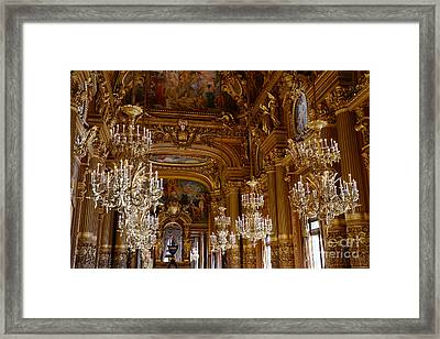 Paris Opera House Opulent Chandeliers - Paris Opera Garnier Chandelier Room - Crystal Chandeliers Framed Print by Kathy Fornal