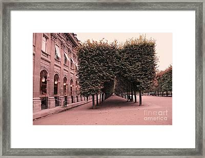 Paris Palais Royal French Palace - Paris Palais Royal Architecture - Paris Surreal Garden And Trees  Framed Print by Kathy Fornal