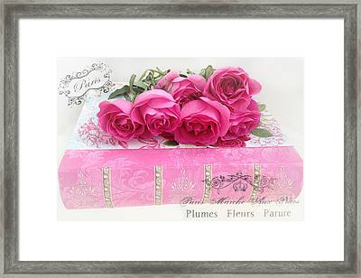 Paris Pink And Red Roses Photography - Dreamy Paris Romantic Roses On Pink Book With French Script  Framed Print by Kathy Fornal