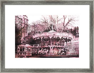 Paris Pink Carousel Merry Go Round- Montmartre District Sacre Coeur Framed Print by Kathy Fornal