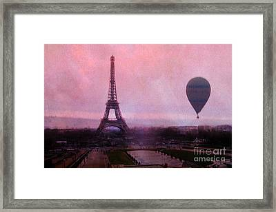 Paris Pink Eiffel Tower With Hot Air Balloon - Paris Eiffel Tower Pink Sky And Balloon Fine Art Framed Print