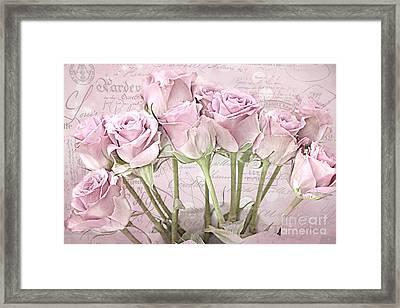 Paris Pink Roses Impressionistic French Pink Roses   - Romantic Shabby Chic Pink Roses French Decor Framed Print