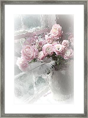 Paris Pink Impressionistic French Roses And Ranunculus - Shabby Chic Romantic Pink Flowers Framed Print by Kathy Fornal