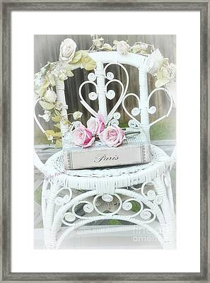 Paris Pink Roses Book White Garden Chair - Shabby Chic Paris Book And Roses - Memories Of Paris Framed Print