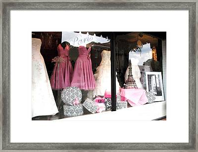 Paris Pink White Bridal Dress Shop Window Paris Decor Framed Print by Kathy Fornal
