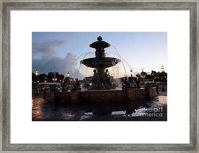 Paris Place De La Concorde Fountain - Paris Dreamy Night Fountain - Place De La Concorde Night Photo Framed Print by Kathy Fornal