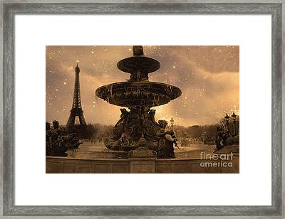 Paris Place De La Concorde Fountain Square - Paris Fountain And Eiffel Tower Sepia Starry Night  Framed Print by Kathy Fornal