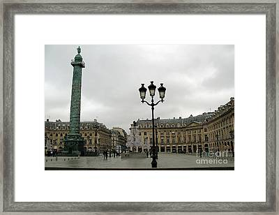 Paris Place Vendome Architecture Monuments Street Lamps And Buildings  Framed Print by Kathy Fornal