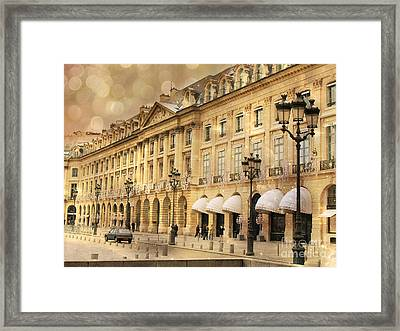 Paris Place Vendome Hotel Chaumet Architecture - Paris Hotel Street Lanterns - Paris Black And Gold  Framed Print by Kathy Fornal