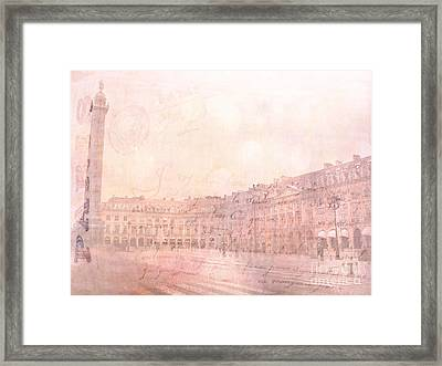 Paris Place Vendome Pastel Dreamy Pink Place Vendome Ritz Hotel Architecture Shopping District  Framed Print by Kathy Fornal