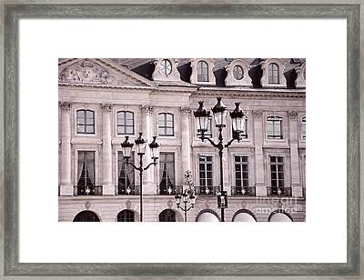Paris Place Vendome Pink And Black Architecture - Paris Pink Black Street Lanterns Architecture  Framed Print by Kathy Fornal