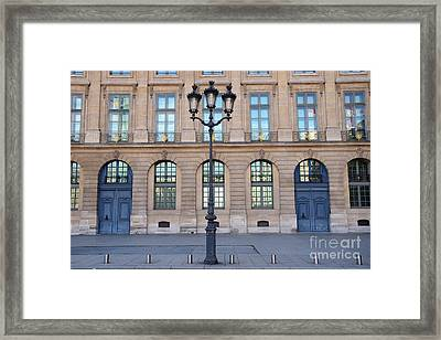 Paris Place Vendome Street Architecture Blue Doors And Street Lamps  Framed Print by Kathy Fornal