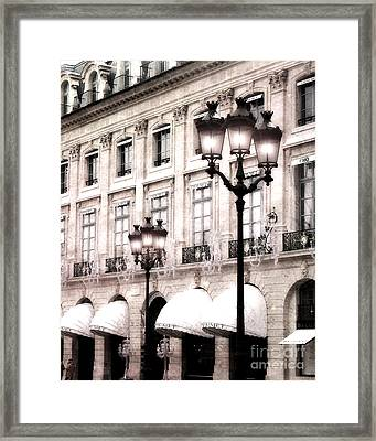 Paris Place Vendome Street Lamps Architecture Hotel Chaumet And Paris Street Lights Lanterns Framed Print by Kathy Fornal
