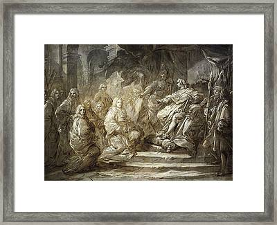 Paris Politicians Meeting Louis Xv Framed Print