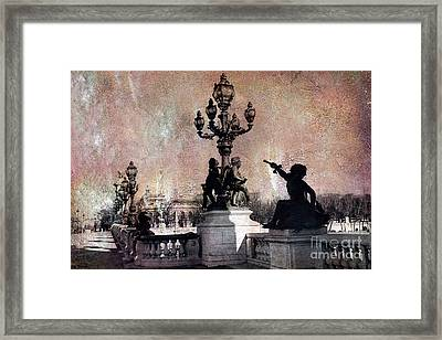 Paris - Pont Alexandre Bridge IIi Over Seine River Framed Print by Kathy Fornal