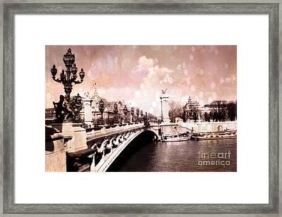 Paris Pont Alexandre IIi Bridge Over The Seine - Paris Romantic Bridge Sculptures And Ornate Lamps  Framed Print by Kathy Fornal