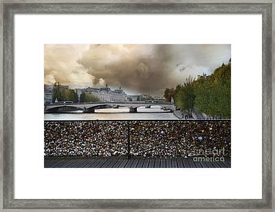 Paris Pont Des Art Bridge Locks Of Love Bridge - Romantic Locks Of Love Bridge View  Framed Print by Kathy Fornal