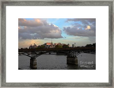 Paris Pont Des Art Bridge - Seine River Romantic Bridge - Love Locks  Framed Print by Kathy Fornal