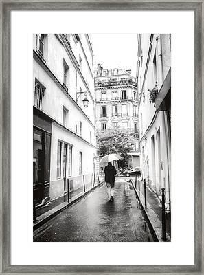 Paris - Rain - Sunday Stroll Framed Print