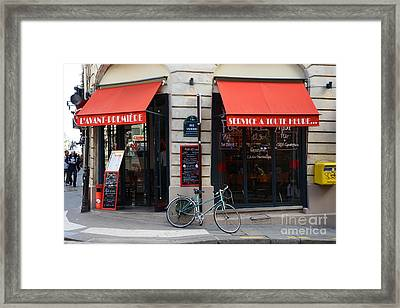 Paris Red Canopies And Bicycle Street Photography - Paris In Red Street Corner Photography  Framed Print by Kathy Fornal