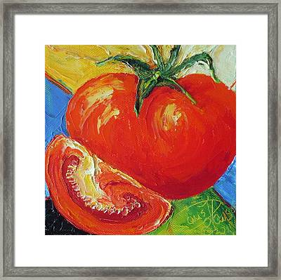 Paris' Red Tomato Framed Print by Paris Wyatt Llanso