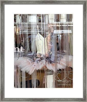 Paris Repetto Ballerina Pink Cream Gray Tutu In Window - Paris Ballerina Dress In Window Framed Print by Kathy Fornal