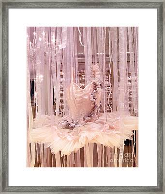 Paris Repetto Pink Ballerina Tutu Window Display - Parisian Fashion Ballerina Dress Framed Print