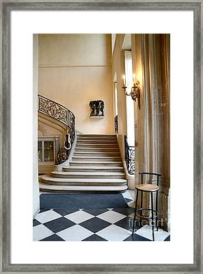 Paris Rodin Museum Entry Staircase And Architecture Framed Print by Kathy Fornal