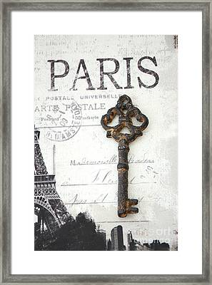 Paris Vintage Key Art - Paris Black And White Vintage Key Decor - Paris Books Skeleton Key  Framed Print by Kathy Fornal