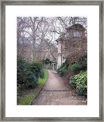 Paris Romantic Parks - Luxembourg Gardens - Medici Fountain Park - Pathway To Luxembourg Gardens Framed Print by Kathy Fornal