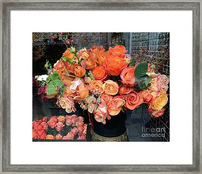 Paris Roses Autumn Fall Peach Orange Roses - Paris Roses Flower Market Shop Window Framed Print by Kathy Fornal