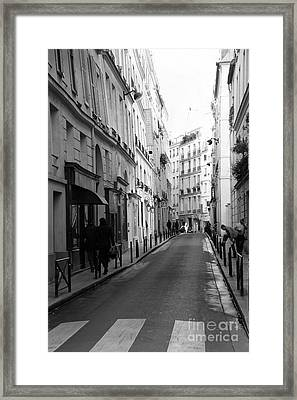 Paris Rue St. Honore Street Art Deco - Paris Black And White Street Architecture Framed Print