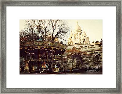 Paris Sacre Coeur Carousel Merry Go Round - Paris Autumn Fall Carousel Sacre Coeur Cathedral Framed Print by Kathy Fornal