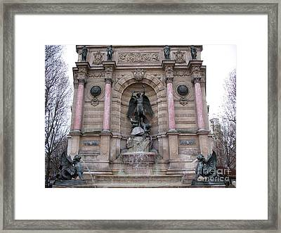Paris Saint Michael Archangel Monument - Paris Famous Landmarks St. Michael Archangel Monument Framed Print