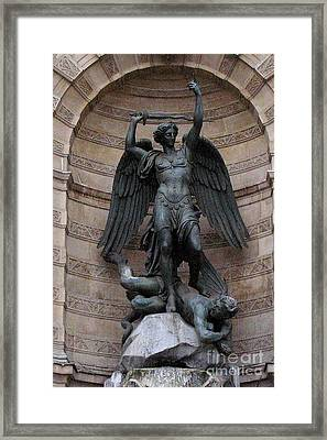 Paris - Saint Michael Archangel Statue Monument - Saint Michael Slaying The Devil Framed Print