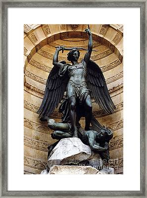 Paris Saint Michael Archangel Statue Monument - St. Michael Fountain Square Framed Print